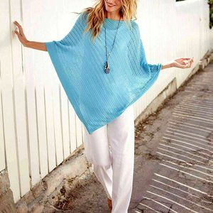 J.Jill Coral Linen Crochet Asymmetric Poncho